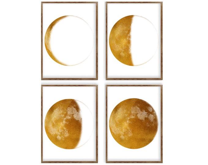 Moon Phase Print, Set of 4 Print, Gold Art Print, Lunar Phases Print, Moon Art, Moon Phases, Moon Poster, Scandinavian Print, Large Print