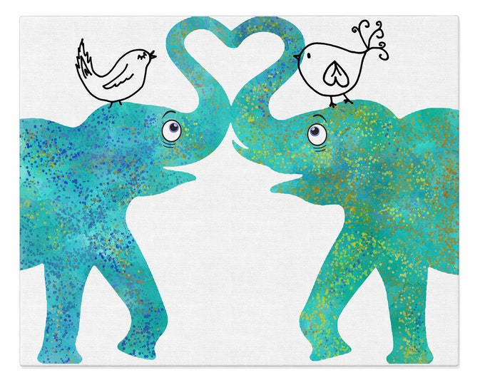 Personalized Anniversary Gift, Elephant Love, Watercolor Art Print, Elephant Couple Print, Couple Prints, Valentines Day Gift