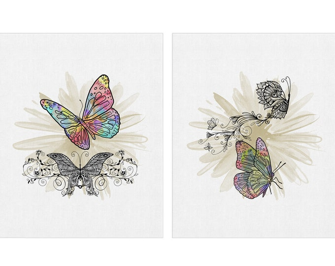 Set of 2, Bedroom Décor, Butterfly Prints, Art Prints, Wall Art Canvas, Nature Illustration, Farmhouse Decoration, Insect Art