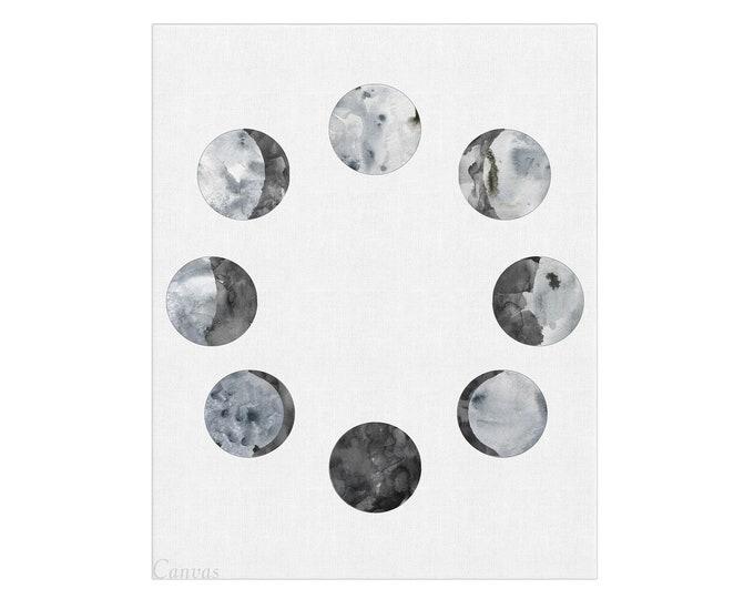 Moon Print, Moon Wall Art, Moon Phases Poster, Lunar phases, Moon Phase Pictures, Moon Poster, Large Canvas Art, Bedroom Wall Décor