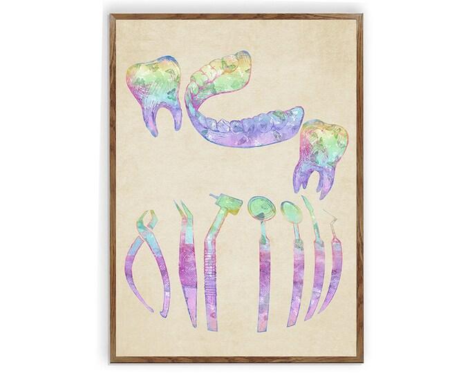 Dental Instruments, Dentist Tools, Dental Hygienist Gift, Dental Art, Dentist Office Decor