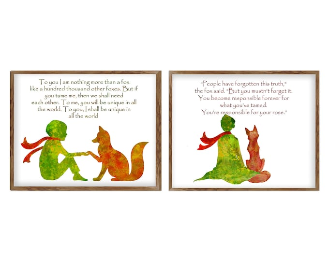 Inspirational Quote, Set Of 2 Art Prints, Little Prince Décor, Literary Quotes, Quote poster, Nursery Wall Art, Large Canvas