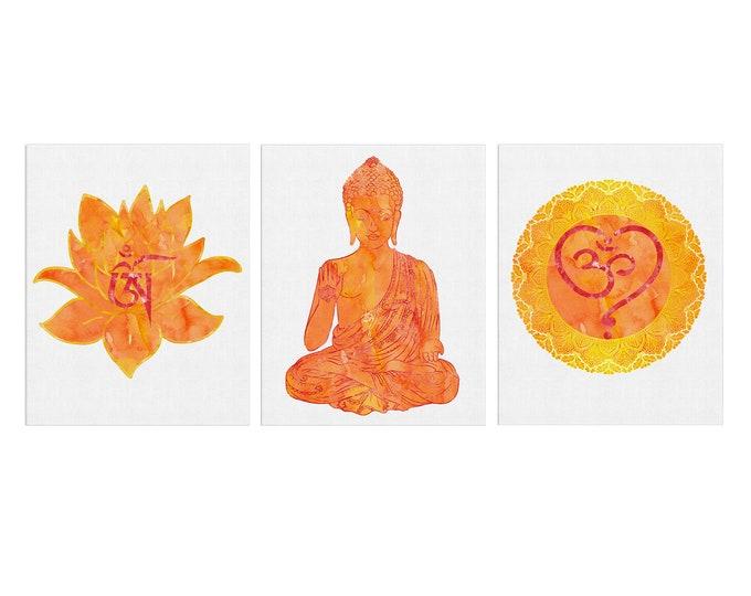 Set of 3 Yoga, Meditation Room, Zen Watercolor Art Print, Om Symbol, Buddha Art Print, Lotus Flower, Wall Décor, Birthday Gift