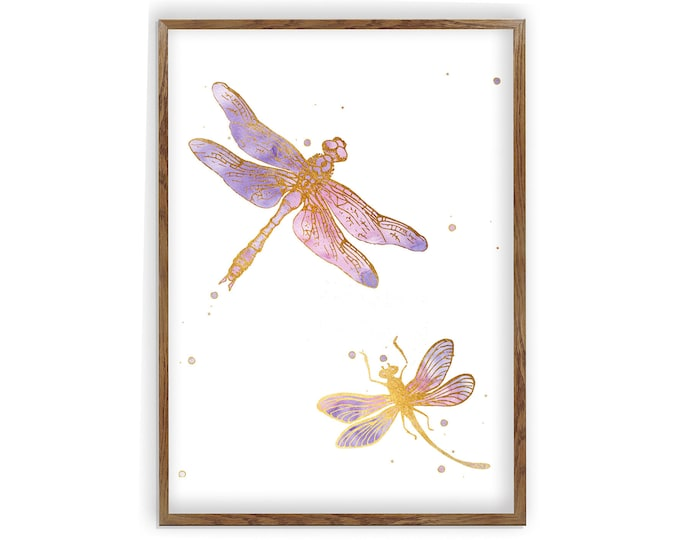 Dragonfly Art Print, Dragonfly Poster, Dragonfly Decor, Insect Painting, Dragonfly Art Print, Nursery Decor, Dragonfly Watercolor, Gift Idea