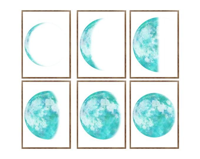 Moon Phase Print, Set of 6 Prints, Lunar Phases Print, Moon Art, Moon Phase, Moon Poster, Scandinavian Print, Large Wall Art, Luna Art Print