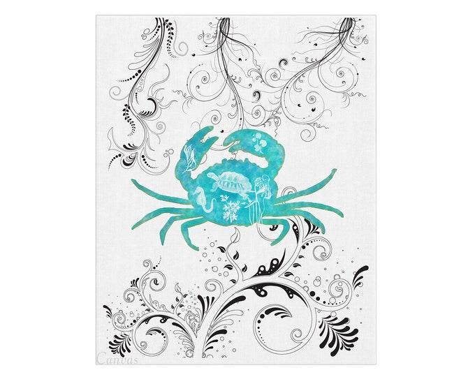 Blue Crab, Watercolor Crab, Beach Art Print, Beach House Décor, Maryland Crab Gift, Beach Lover Gift, Crab Print, Watercolor Sea Life
