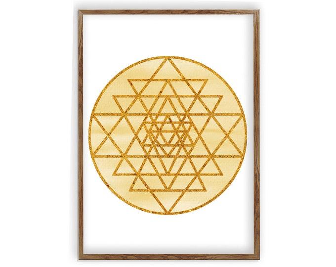 Sri Yantra Geometry, Sacred Geometry, Spiritual Wall Art, Mandala Art, Geometry Art, Gift for Therapist, Zen Decor, Yoga Studio Decor, Yoga