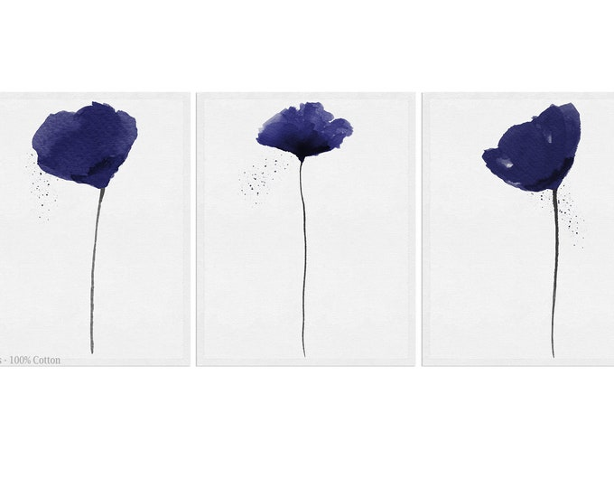 Navy Blue, Wall Art, Poppy Print, Set Of 3, Watercolor Painting, Home Décor, Floral Décor