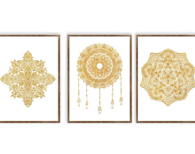 Mandala, Living Room Wall Hanging, 3 Piece Canvas Art, Gold Décor, Bohemian Wall Décor, Ethnic Décor, Mindfulness Gift