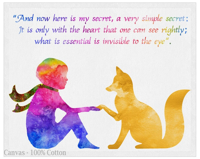 Watercolor Print Quote, Fox Quote, art print, little prince Fox, Literature Art, Wall Art, Kids Room Décor, Dog Lover Gift