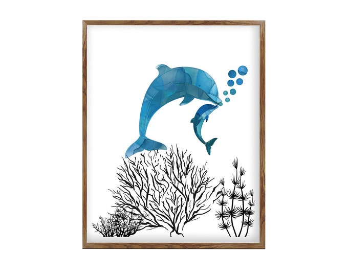 Dolphin Print, Mother and Baby, Gift Baby Shower, Housewarming Gift, Wall Art Poster, Dolphins Wall Décor, Nursery Wall Art