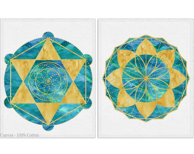 Sacred Geometry, Mandala Print, Yoga Print, Geometry Wall Art, 2 Piece Set, Gallery Wall Set, Geometric Shapes, Spiritual Art