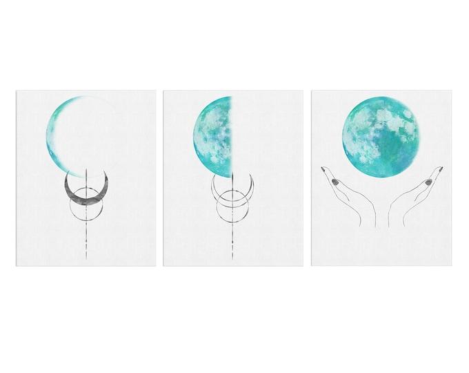 Moon Art Print, Set of 3 Moon, Watercolor Painting, Celestial Moons Phases, Wall Décor, Home Décor, Luna Wall Art, Lunar Prints