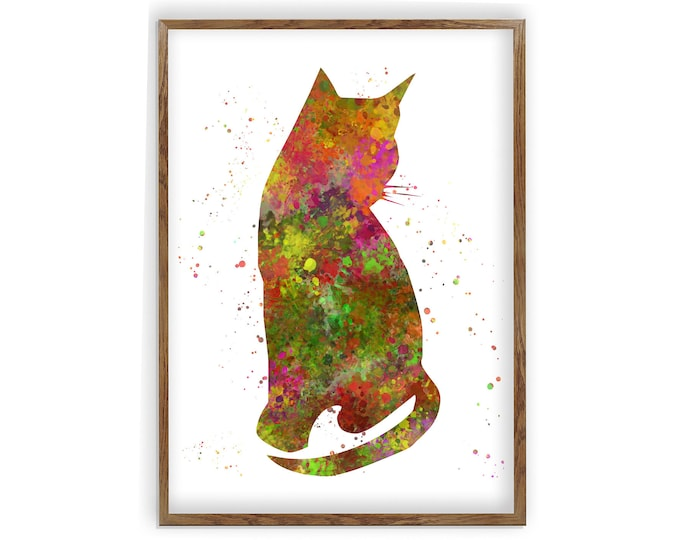 Cat Print Colorful. Watercolor Painting. Colorful Print. Wall Art. Cat Lover Gift. Art Print. Wall Decor. Cat Decor.Cat Lady Gift.