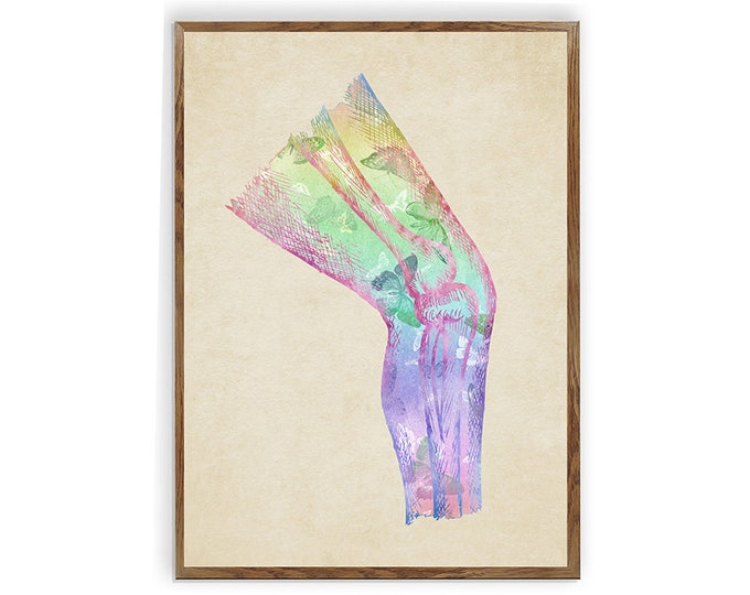 Knee bone, Watercolor Print, Human Anatomy, knee, Orthopedic Wall art, Skeletal System, leg bones, Medical Décor