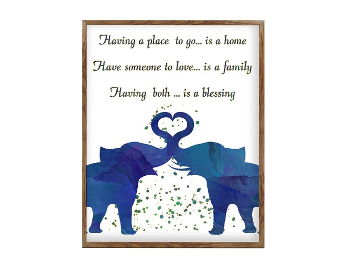Love Quote, Watercolor Painting, Wall Art, Blue Elephant, Animal, Illustration, Home Décor, Nursery, African, Wildlife