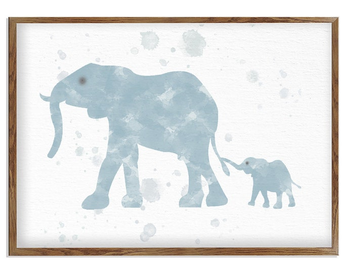 Watercolor Elephant, Nursery Art Print, Elephant Wall Décor, Animal Print, Wall Art, Elephant Poster