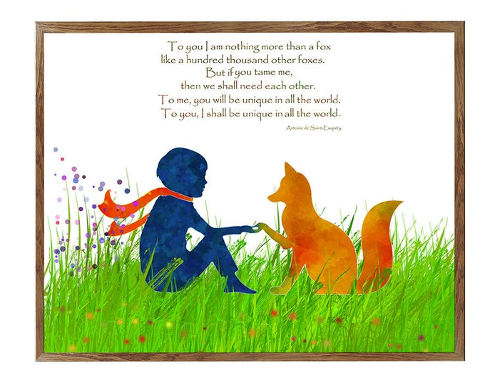 SALE Αrt, little Prince Poster, 16x20, Little Prince Fox Quote, Inspirational Quotes, Quotes Wall Art, Friendship Quote, Little Prince Print
