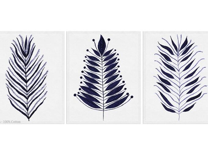 Fern Wall Art, Leaves Print, Set of 3, Botanical Print, Fern Art, Fern Illustration, Wall Art, Bathroom Décor