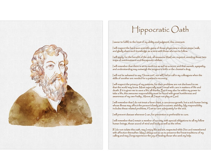 Hippocratic Oath, Physicians Oath, Doctor Gift, Graduate Present, Anatomy Print, Graduation Gift, MD Gifts, Clinic Decoration