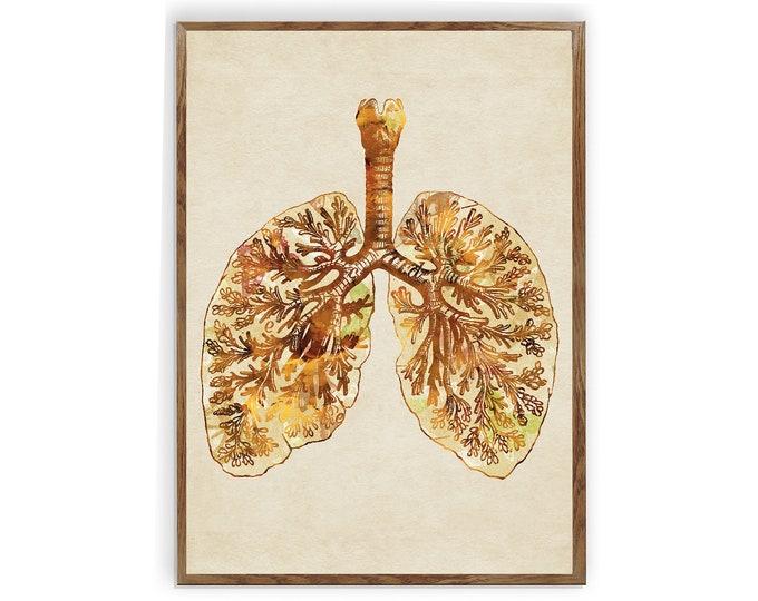 Anatomical Lungs, Medical Art Print, Respiratory Art Print, Lungs Wall Art, Clinic Décor, Therapist Gift, Doctor Office, Graduation Gift