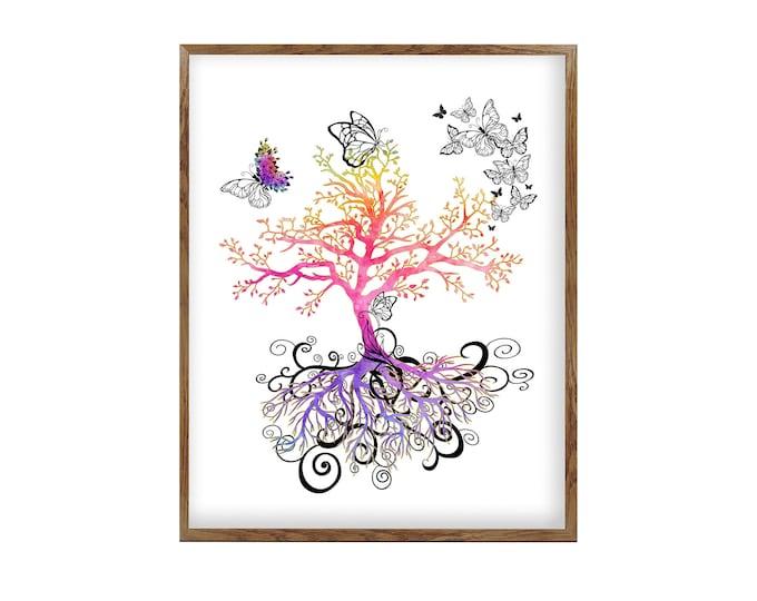 Tree of Life, Wall Art, Rainbow Art Print, Yoga Studio, Family Tree Art, Housewarming Gift, Textured Tree, Butterfly Décor