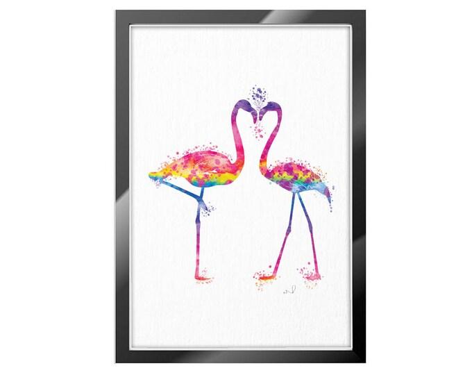 Flamingo Wall Art, Watercolor Print, Tropical Bird Print, Flamingo Love, Valentine's day, Rainbow Art Print, Home Decor Flamingo Nursery Art