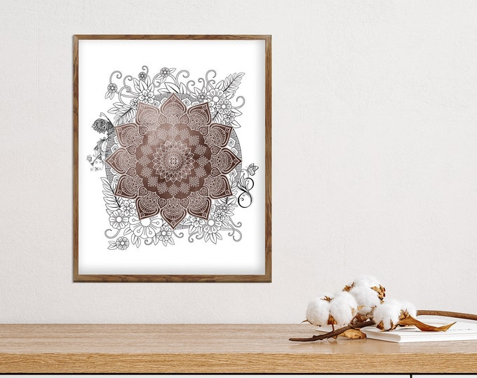 Original Brown Mandala, Wall Art, Brown Bohemian Décor, Flower Mandala, Bedroom Decoration, Living Room Décor, Yoga Room