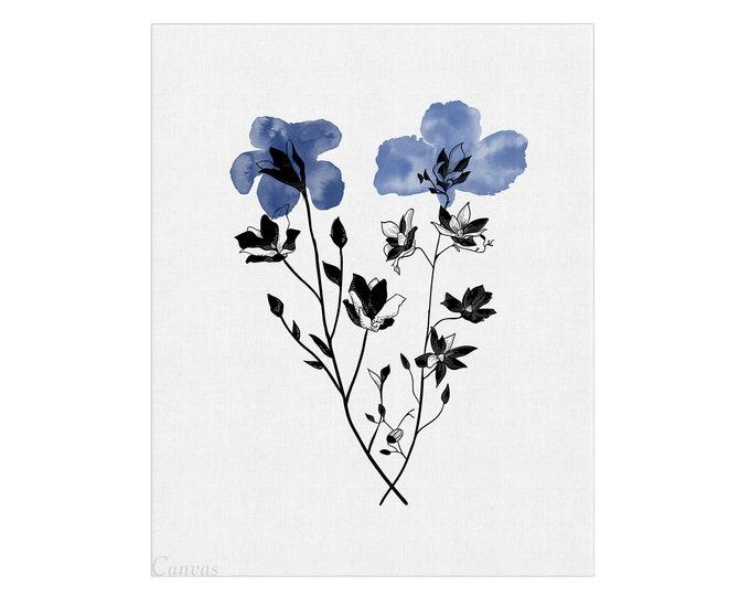 Blue Flower, Wall Art, Iris Watercolor, Floral Gallery, Art Print, Botanical Print, Minimal Flower Art, Wall Décor