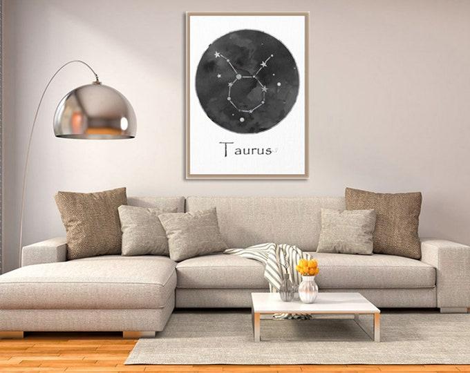 Taurus Constellation Print, Black White Wall Art, Zodiac Sign Print, Art Print, Birth Month, Astrology Print, Zodiac Art, Celestial Art