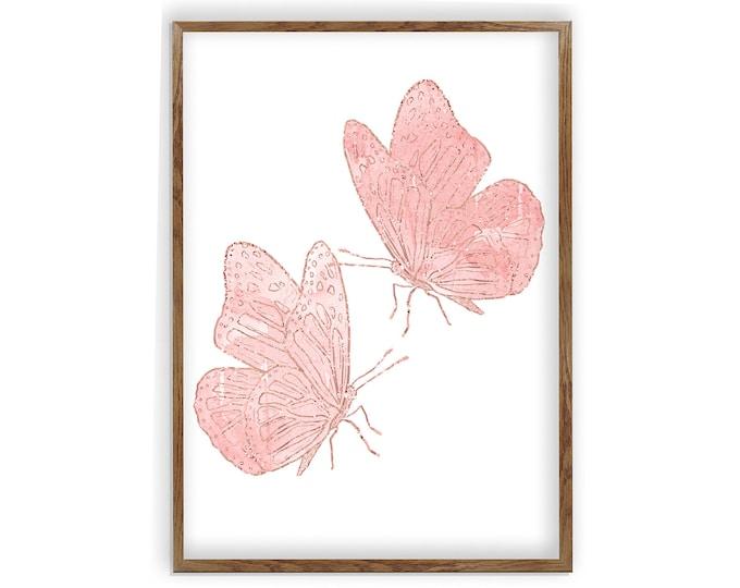 Nursery Décor, Butterfly Wall Art, Nature Art Print, Pink Butterfly, Blush Butterfly, Butterfly Print, Minimalist Art