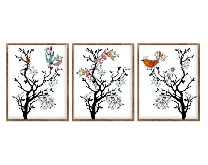Set Of 3 Prints, Whimsical Birds, Watercolor Birds, Nursery Wall Décor, Bird Lover Gift, Wall Art, Nature Illustration, Bird Prints