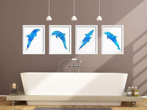 Bathroom Decor Dolphin Wall Art Watercolor Dolphin Print   Etsy