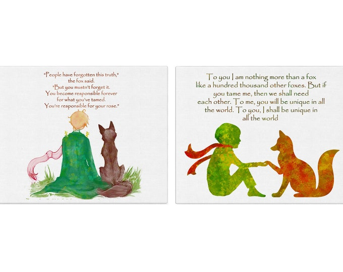 Little Prince Décor, Inspirational Quote Print Set, Literary Quotes, Little Prince Fox Art, Nursery Wall Art, Large Canvas, Quote poster