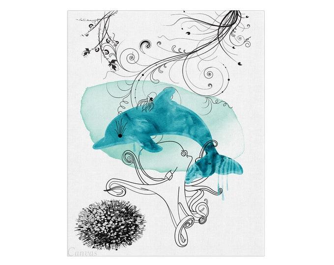 Watercolor Painting, Bottlenose Dolphin, Art Print,  Nautical Animal, Dolphin Illustration, Beach House Décor, Sea Life Art