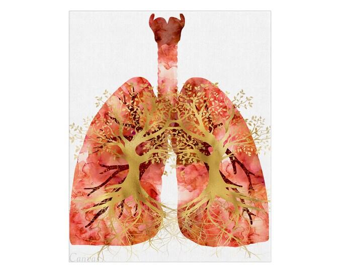 Lungs Art, Anatomical Poster, Canvas Wall Art, Human Anatomy Art, Office Décor, Graduation gift, Medical Illustration