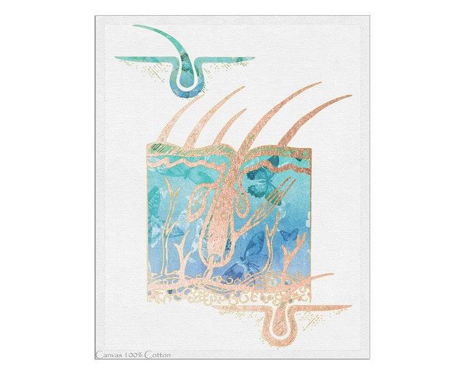 Skin Anatomy Art, Skin Art, Dermatologist Office Décor, Skin Histology Art, Anatomical Art Print, Esthetician Gift