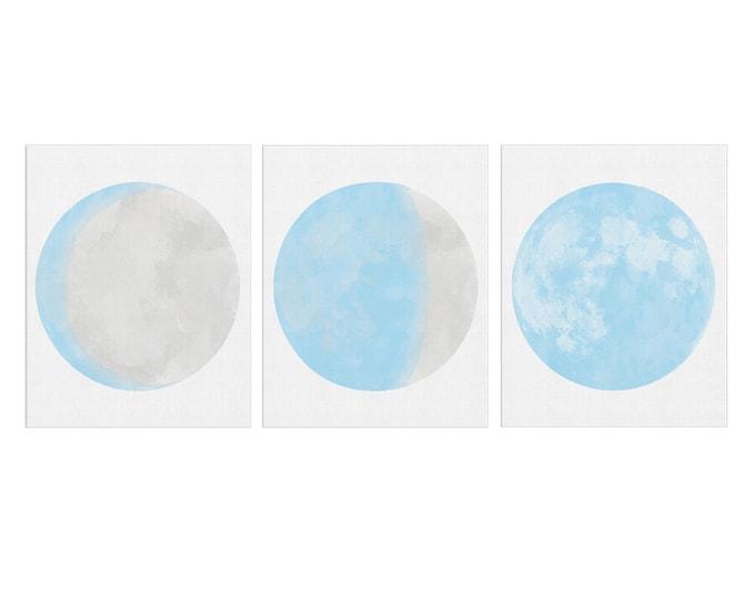 Blue Moon Poster, Moon Phases Print Set, Set of 3 Prints, Moon Watercolor Painting, Scandinavian Art, Moon Phase Wall Art