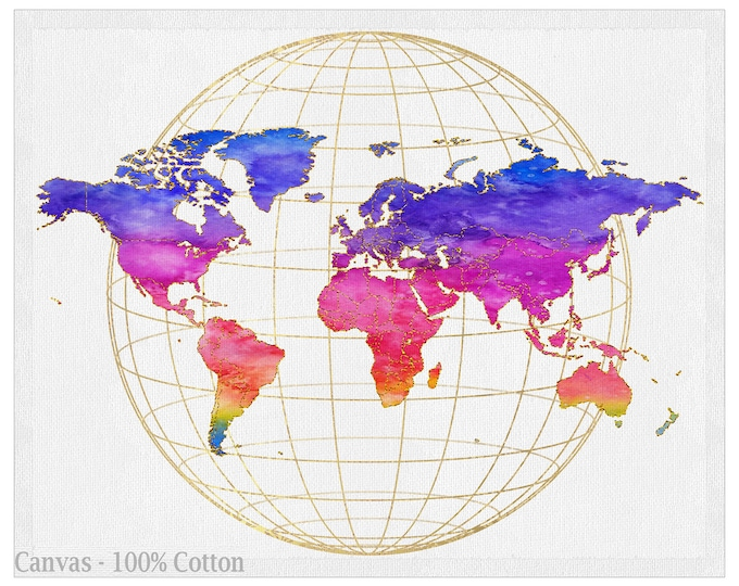 Adventure Travel Map, Rainbow Colors, World Map Wall Art, Large Canvas, Decoration Object, Home, Office, Living Room Décor