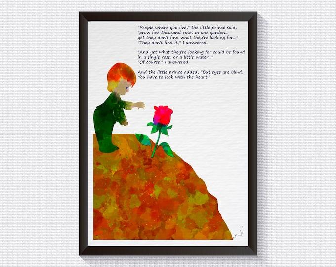 Inspirational wall art Little Prince Quote Petit Prince French inspirational Print Home decor, Kids Decor Nursery Decor, Gift idea