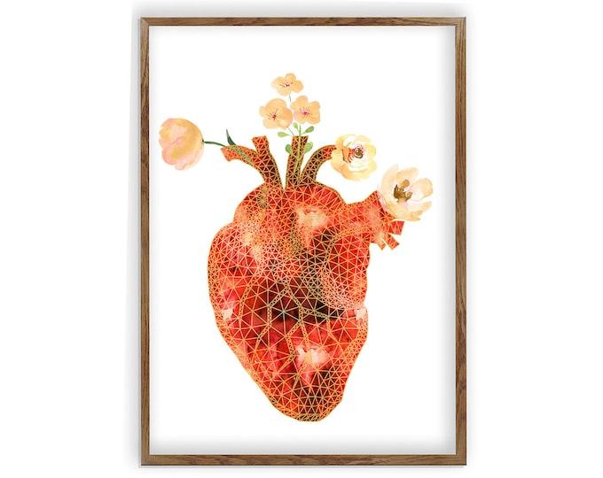 Heart Anatomical Poster, Cardiology Gift, Human Heart, Heart Anatomy Print, Surgery Art, Medical Student Gift