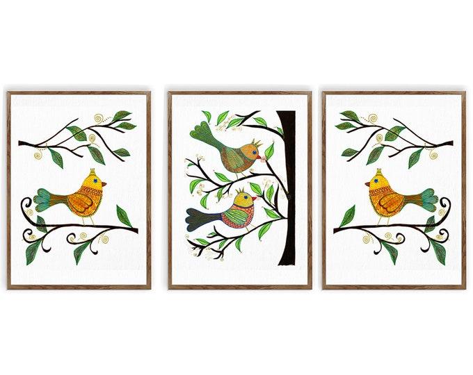 Watercolor Birds, Set Of 3 Prints, Whimsical Birds, Nursery Wall Décor, Bird Lover Gift, Wall Art, Home Décor, Bird Prints