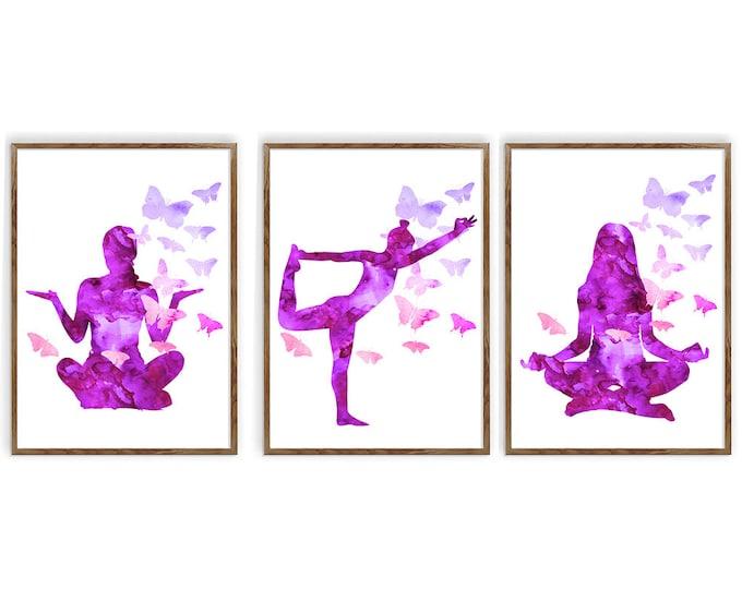 Yoga Poses Art, Set Of 3, Yoga Print, Wall Art, Lotus Pose, King Dancer Pose, Yoga Gifts, Studio Décor