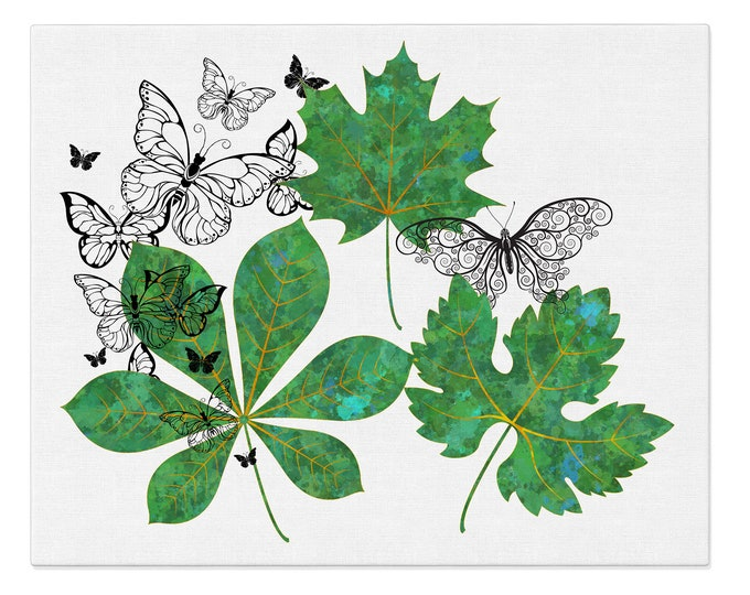 Watercolor Green, Leaves Art Print, Watercolor Leaves, Butterfly Wall Art, Greenery Decoration, Botanical Plants, Tropical Leaves