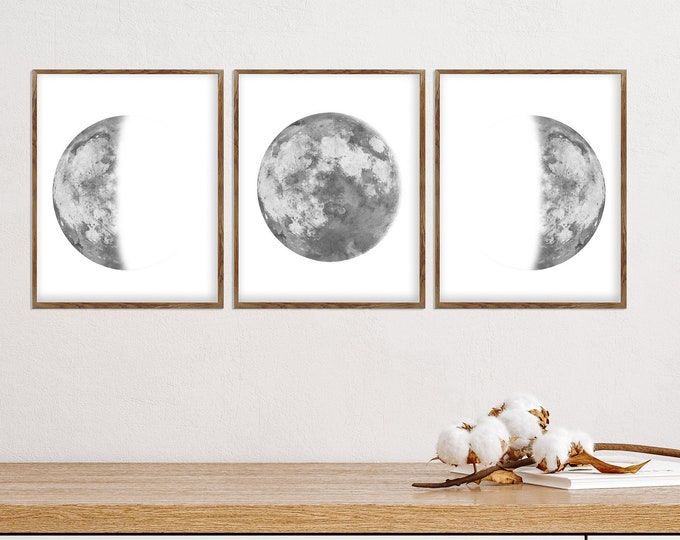 Set of 3 Moon Prints, Moon Phases Poster, Lunar Phases Wall Art, La Lune Affiche, Sacred Moon, Above bed Art, Space Decoration