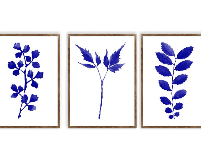 Navy Blue Leaves, Set of 3, Plant Prints, Kitchen Decor, Farmhouse Decor, Minimalist Art, Botanical Print, Living Room Wall Art, Bathroom