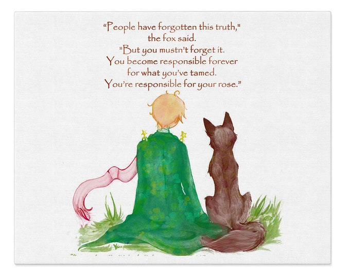 Sayings With Fox Art, Friendship Quote, Quote Prints, Le Petit Prince And The Fox, Kids Room Décor, Baptism Gift, Children's Picture
