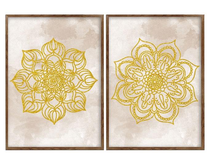 Mandala Set, 2 Pieces Prints,  Ethnic Αrt, Yoga Studio, Bohemian Décor, Beige Taupe Mandala, Indian Wall Art, Living Room Art
