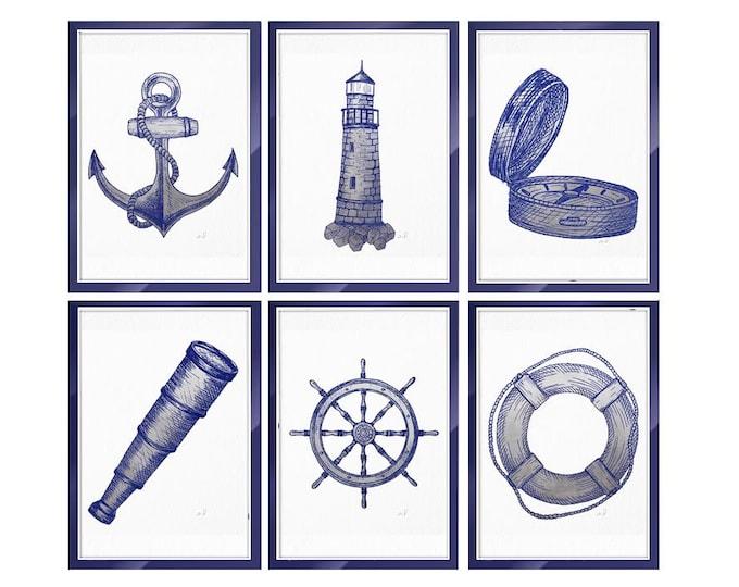 Nautical Print Set, Boat Decoration, Nautical Decor, Blue Boat Art, Seamen Gift, Beach House Wall Art, Nautical Print, Old illustration Art