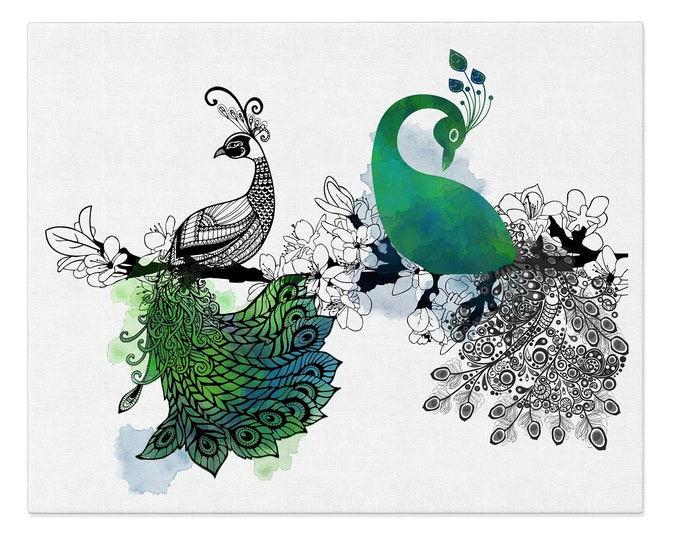 Peacock Wall Art, Peacock Art Print, Bird Poster, Modern Art, Pen and Ink Art, Bird Illustration, Home Office Décor, Large Canvas